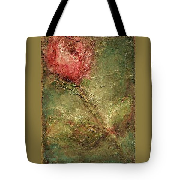 Tote Bag featuring the painting Textured Rose Art by Mary Wolf