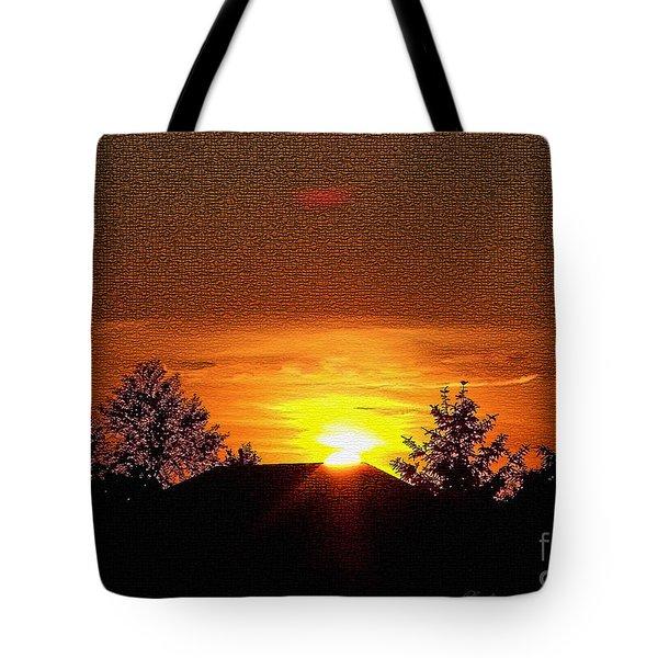 Textured Rural Sunset Tote Bag
