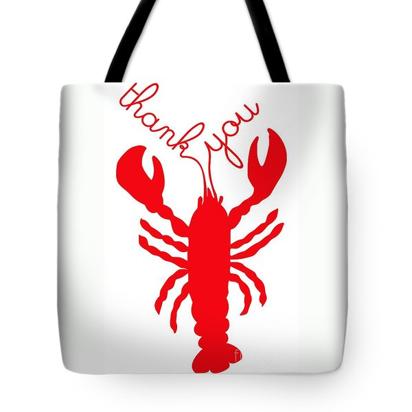 Thank You Lobster With Feelers Tote Bag by Julie Knapp