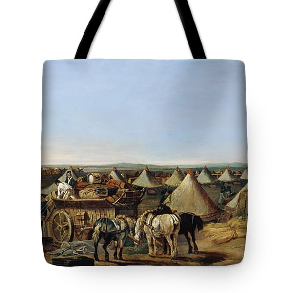 The 10th Regiment Of Dragoons Arriving Tote Bag by A.E. Eglington