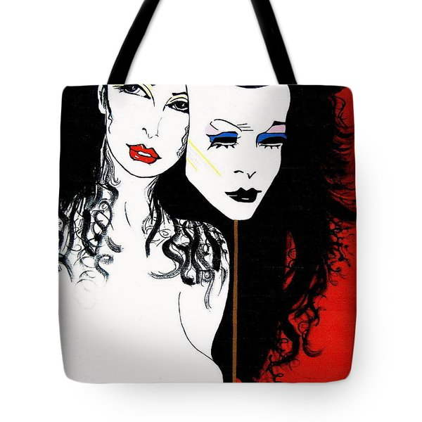 Tote Bag featuring the painting The 2 Face Girl by Nora Shepley