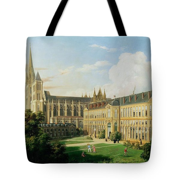 The Abbey Church Of Saint-denis And The School Of The Legion Of Honour In 1840 Oil On Canvas Tote Bag