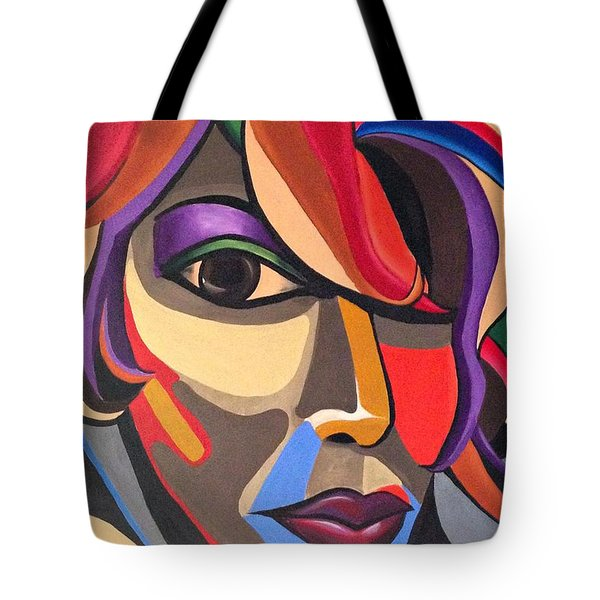 Abstract Woman Art, Abstract Face Art Acrylic Painting Tote Bag