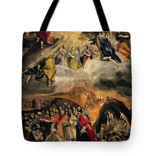 The Adoration Of The Name Of Jesus Tote Bag by El Greco Domenico Theotocopuli