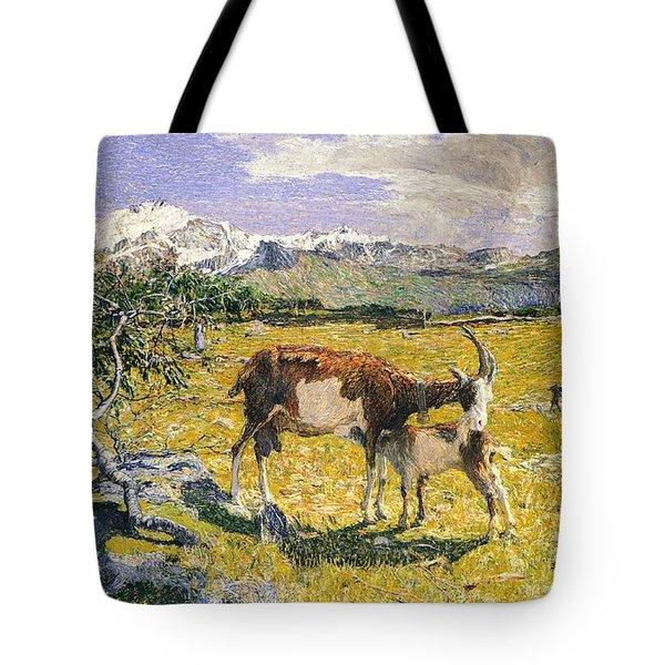 The Alps In May Tote Bag by Giovanni Segantini