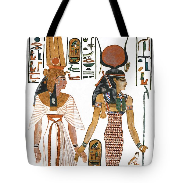 The Ancient Egyptian Goddess Isis Leading Queen Nefertari Tote Bag by Ben  Morales-Correa