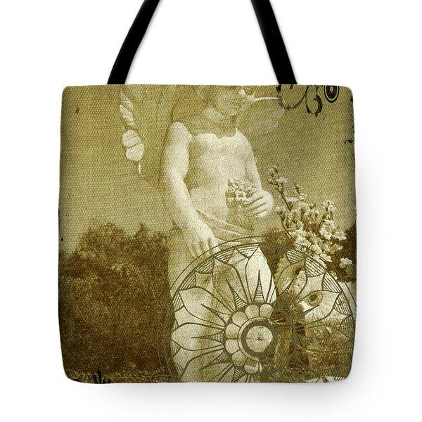 Tote Bag featuring the digital art The Angel - Art Nouveau by Absinthe Art By Michelle LeAnn Scott