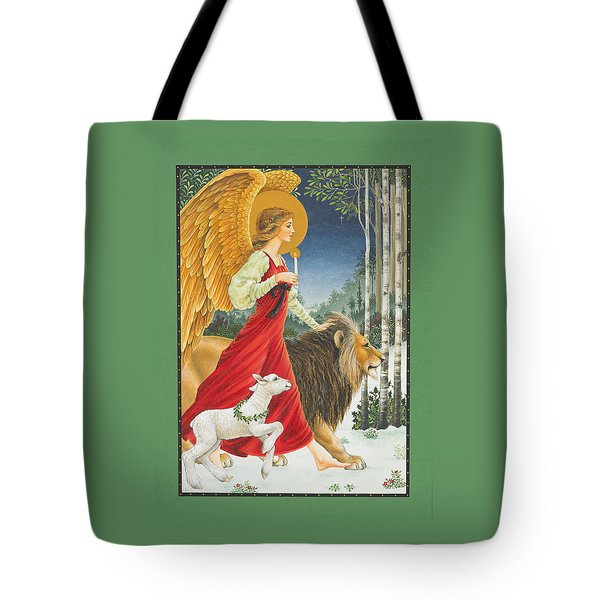 The Angel The Lion And The Lamb Tote Bag