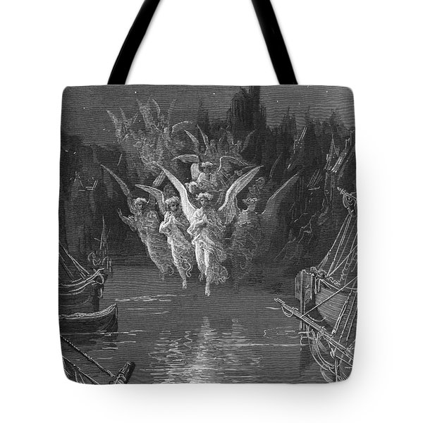 The Angelic Spirits Leave The Dead Bodies And Appear In Their Own Forms Of Light Tote Bag by Gustave Dore