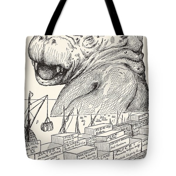 The Animal That Came Out Of The Sea And Ate Up All The Food That Suleiman-bin-daoud Had Made Ready F Tote Bag by Joseph Rudyard Kipling