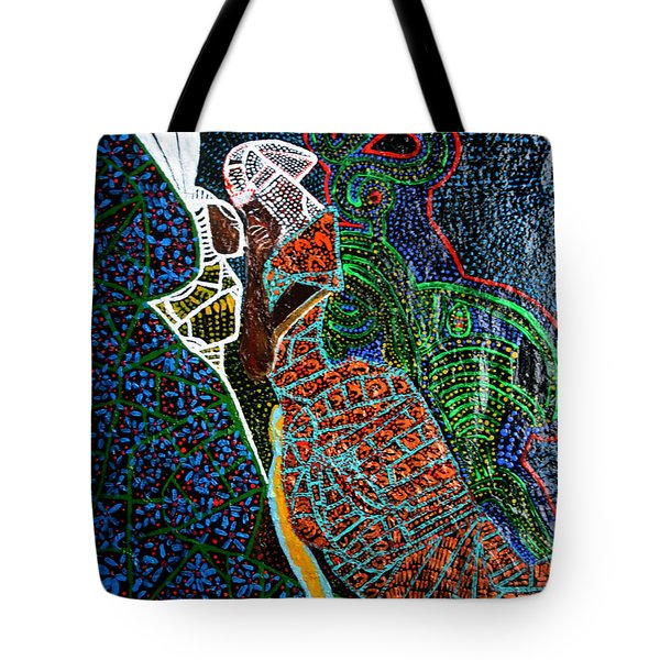 Tote Bag featuring the painting The Annunciation by Gloria Ssali