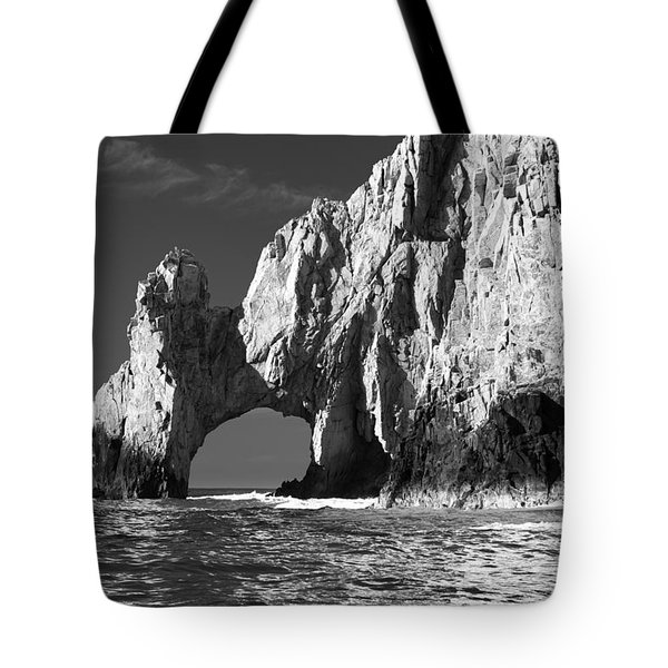 The Arch Cabo San Lucas In Black And White Tote Bag by Sebastian Musial