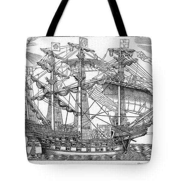 The Ark Raleigh The Flagship Of The English Fleet From Leisure Hour Tote Bag by English School