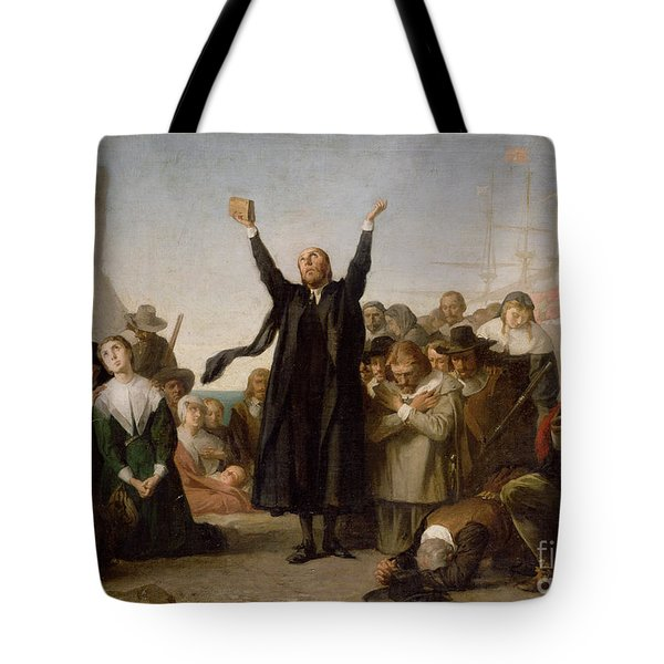 The Arrival Of The Pilgrim Fathers Tote Bag by Antonio Gisbert