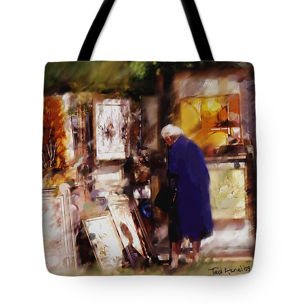 Tote Bag featuring the painting The Art Show by Ted Azriel