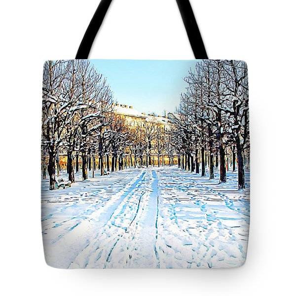 Tote Bag featuring the photograph The Augarten In The Snow by Menega Sabidussi