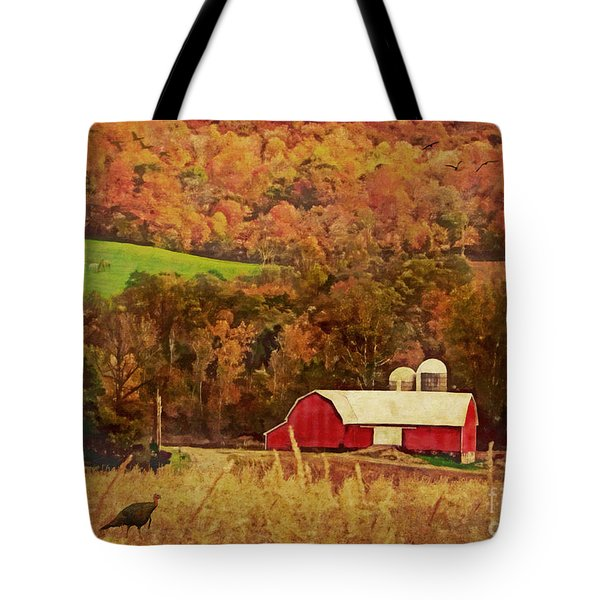 Tote Bag featuring the digital art The Autumn Barn by Lianne Schneider