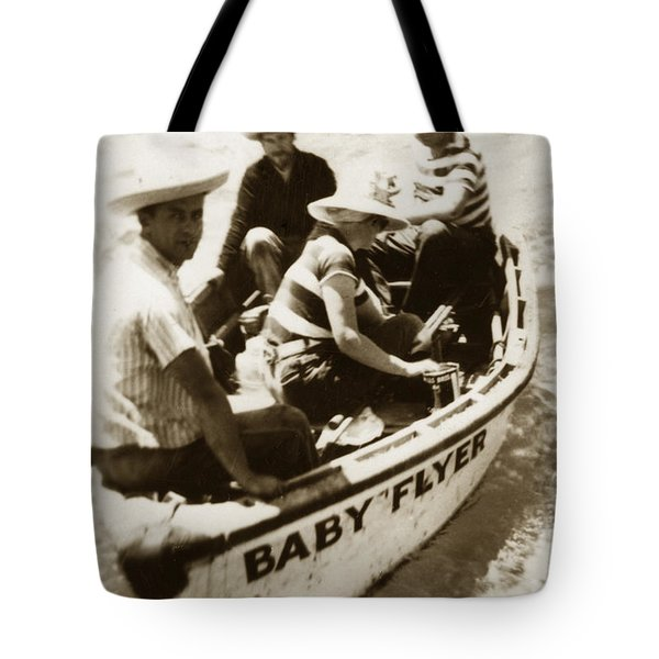 The Baby Flyer With Ed Ricketts And John Steinbeck  In Sea Of Cortez  1940 Tote Bag