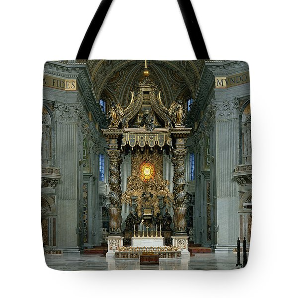 The Baldacchino, The High Altar And The Chair Of St. Peter Photo Tote Bag
