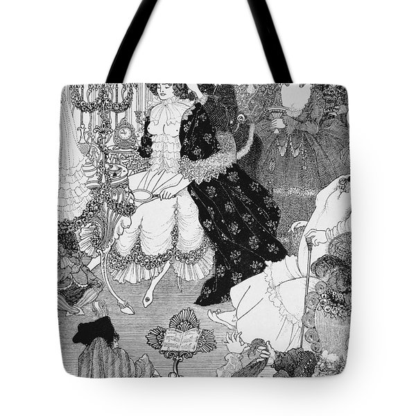 The Battle Of The Beaux And The Belles Tote Bag by Aubrey Beardsley