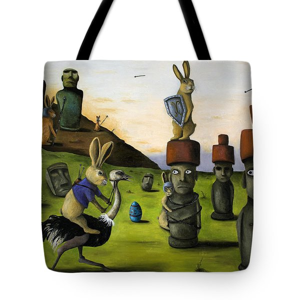 The Battle Over Easter Island Tote Bag by Leah Saulnier The Painting Maniac