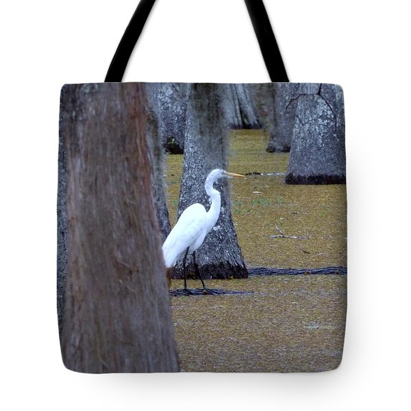 Tote Bag featuring the photograph The Bayou's White Knight by John Glass