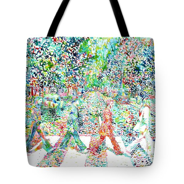 The Beatles - Abbey Road - Watercolor Painting Tote Bag by Fabrizio Cassetta