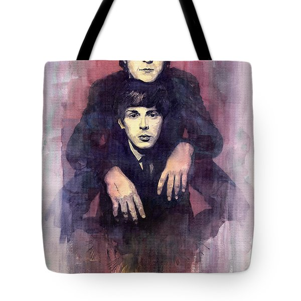 The Beatles John Lennon And Paul Mccartney Tote Bag by Yuriy  Shevchuk
