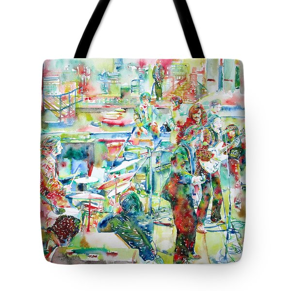 The Beatles Rooftop Concert - Watercolor Painting Tote Bag