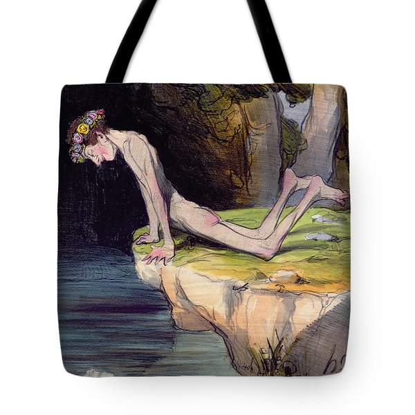 The Beautiful Narcissus Tote Bag by Honore Daumier