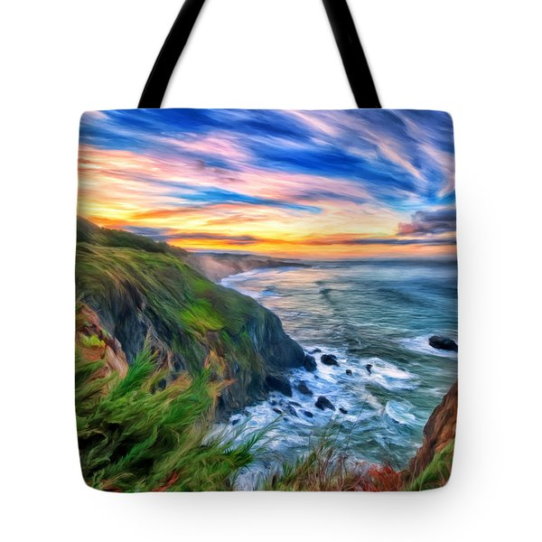 Tote Bag featuring the painting The Beauty Of Big Sur by Michael Pickett