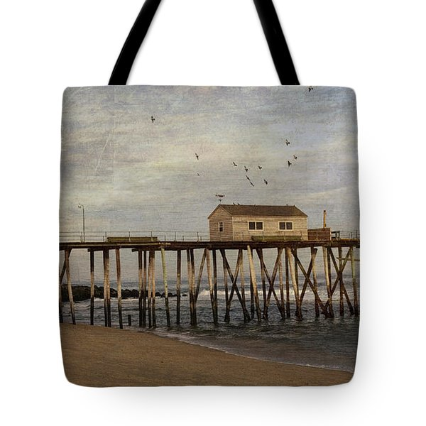 Tote Bag featuring the photograph The Belmar Fishing Club Pier by Debra Fedchin
