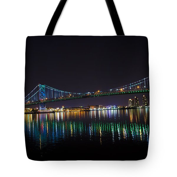 The Ben Franklin Bridge At Night Tote Bag by Bill Cannon