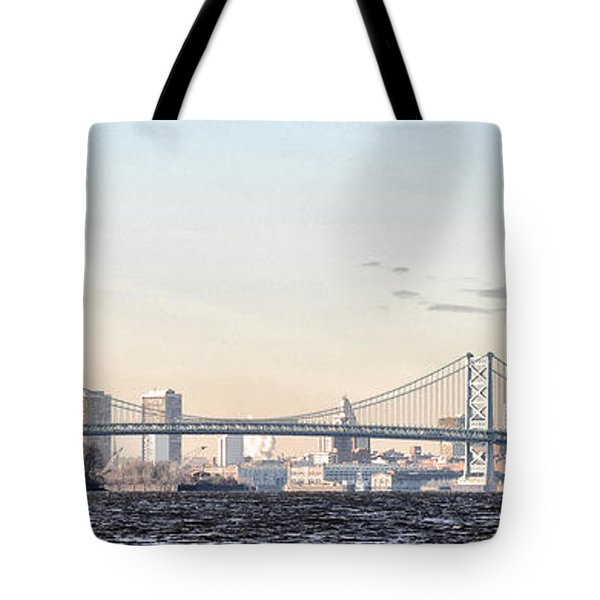 The Ben Franklin Bridge From Penn Treaty Park Tote Bag by Bill Cannon
