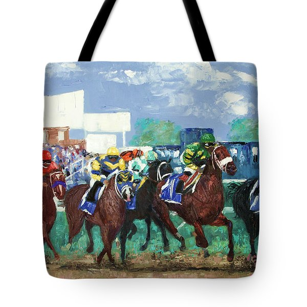 Tote Bag featuring the painting The Bets Are On Again by Anthony Falbo