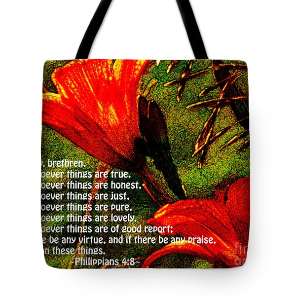 The Bible Philippians 4 Tote Bag