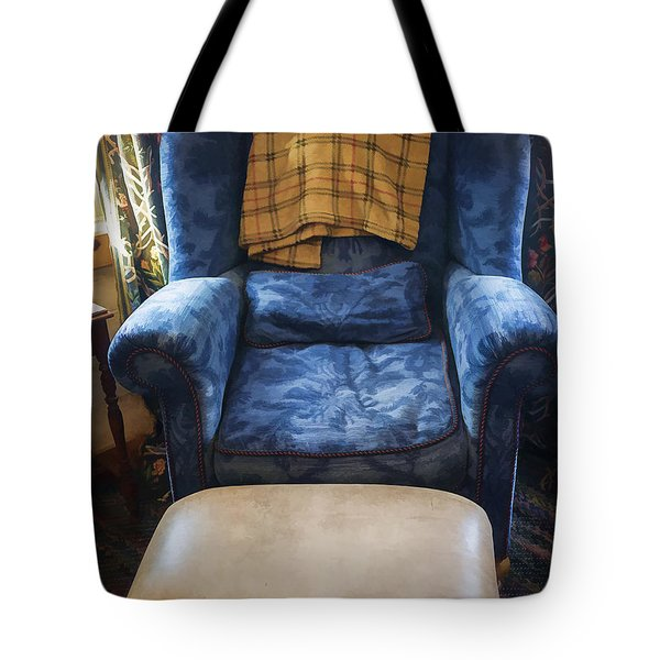 The Big Blue Chair - Oil Tote Bag by Edward Fielding