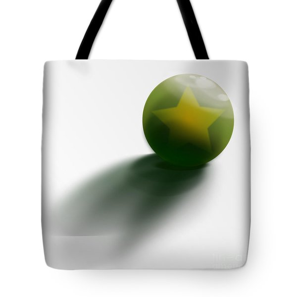 Tote Bag featuring the digital art Green Ball Decorated With Star White Background by R Muirhead Art