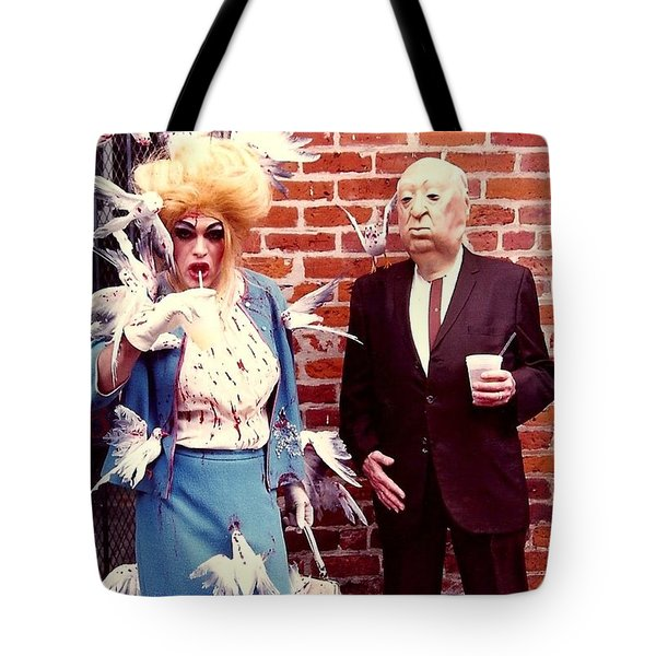 New Orleans The Birds And Alfred Hitchcock Mardi Gras Day In The French Quarter In Louisiana Tote Bag
