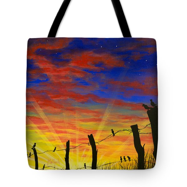 The Birds - Red Sky At Night Tote Bag