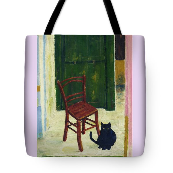 Tote Bag featuring the painting The  Black Cat by Hartmut Jager