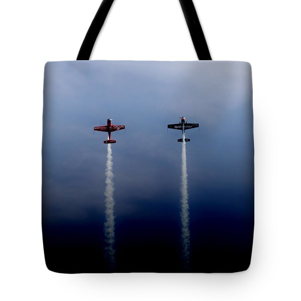 Tote Bag featuring the photograph The Blades Going Up Sunderland Air Show 2014 by Scott Lyons