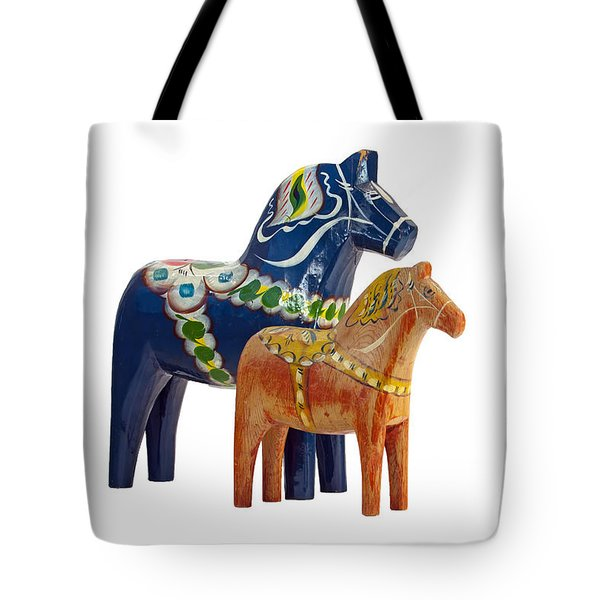 The Blue And Red Dala Horse Tote Bag