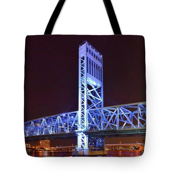 The Blue Bridge - Main Street Bridge Jacksonville Tote Bag by Christine Till