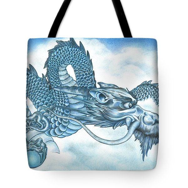The Blue Dragon Tote Bag by Troy Levesque
