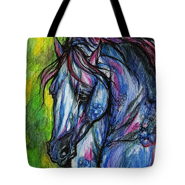 The Blue Horse On Green Background Tote Bag by Angel  Tarantella