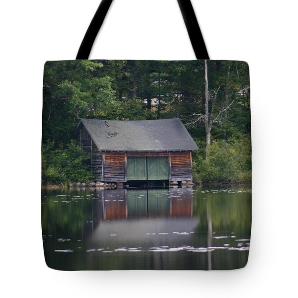 Tote Bag featuring the photograph The Boat House On Mt Chocorua Lake by Denyse Duhaime