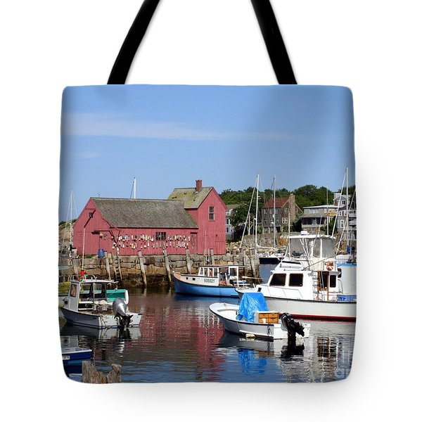 Tote Bag featuring the photograph The Boat Yard At Rockport by Mary Lou Chmura