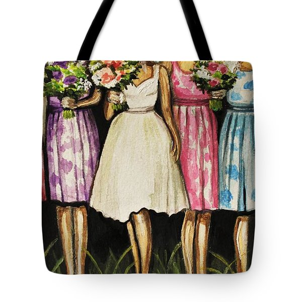 The Bride And Her Bridesmaids Tote Bag by Elizabeth Robinette Tyndall