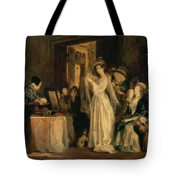 The Bride At Her Toilet On The Day Of Her Wedding, 1838 Oil On Canvas Tote Bag